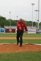 UW Athletic Director Barry Alvarez throws out the ceremonial first pitch